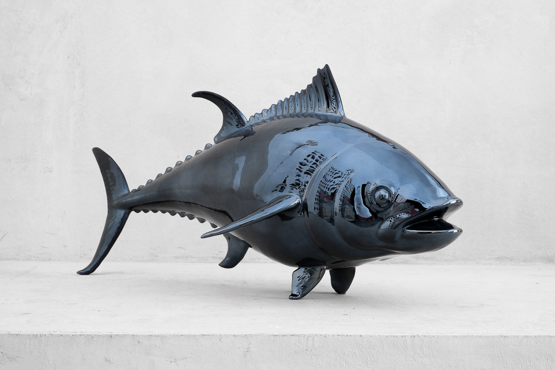 The blackfin tuna (36x85 ) ITALIAN CERAMIC SCULPTURE