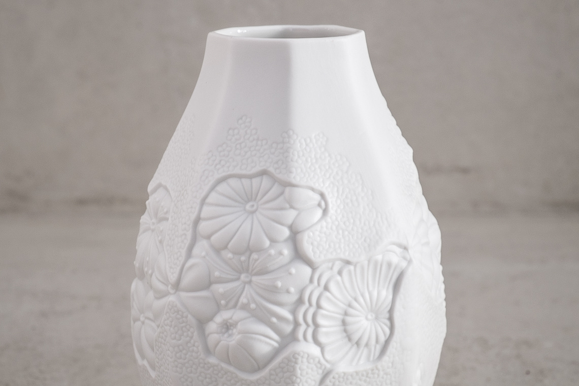 PORCELAIN VASE with floral motif BY M. FREY FOR AK KAISER