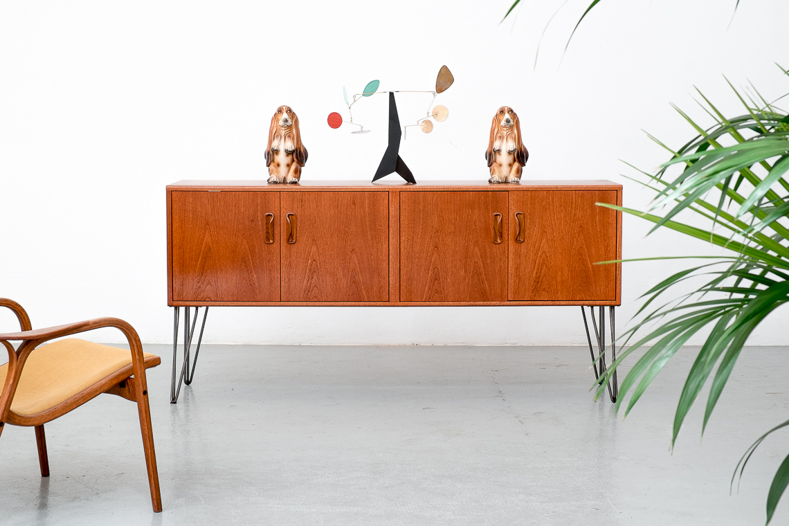 G Plan Teak Upcycled Sideboard on Hairpin Legs