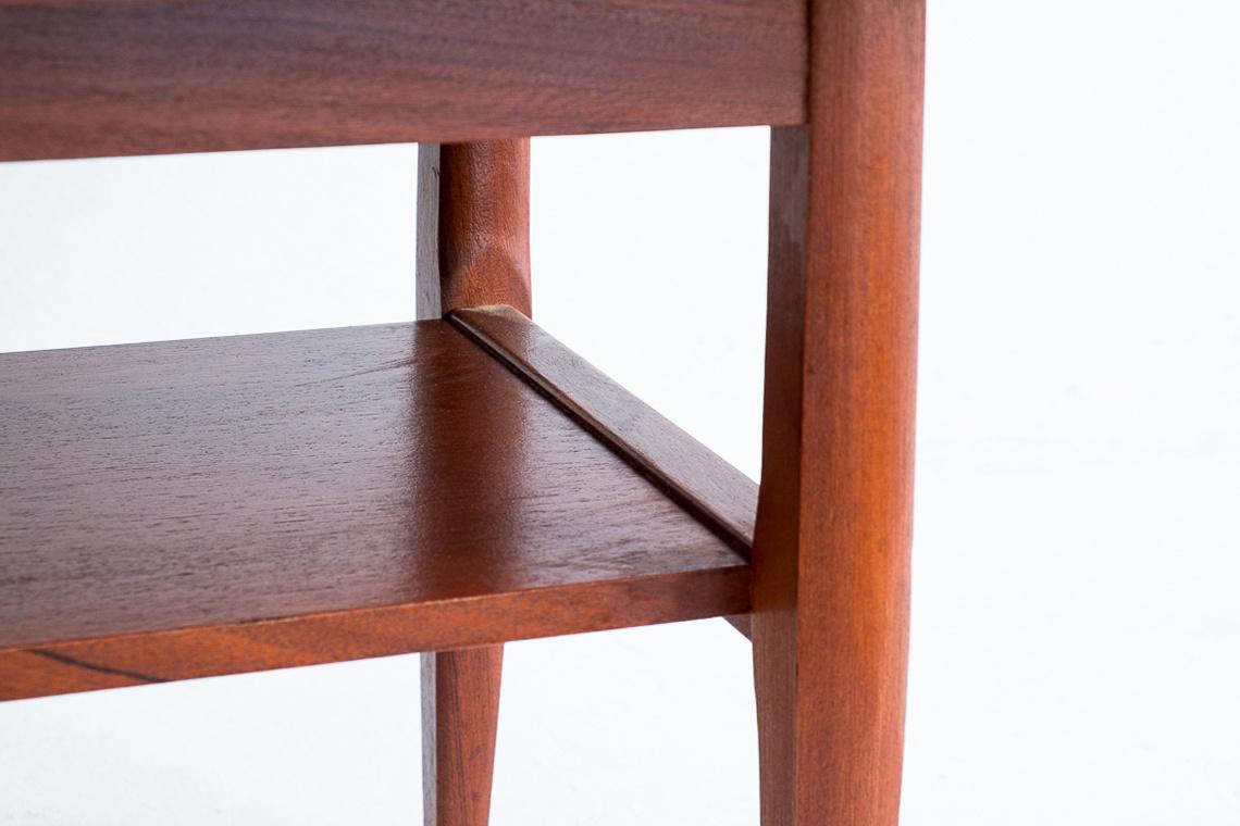 Afromosia & teak long john coffee table by Myer