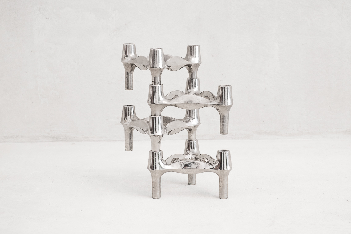 Set of 4 Chrome Candleholder Elements BY BMF