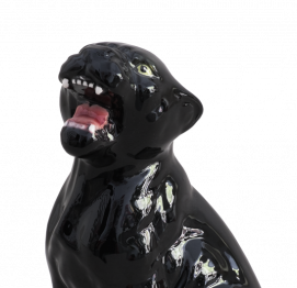 BLACK PANTHER (16CM) ITALIAN CERAMIC SCULPTURE