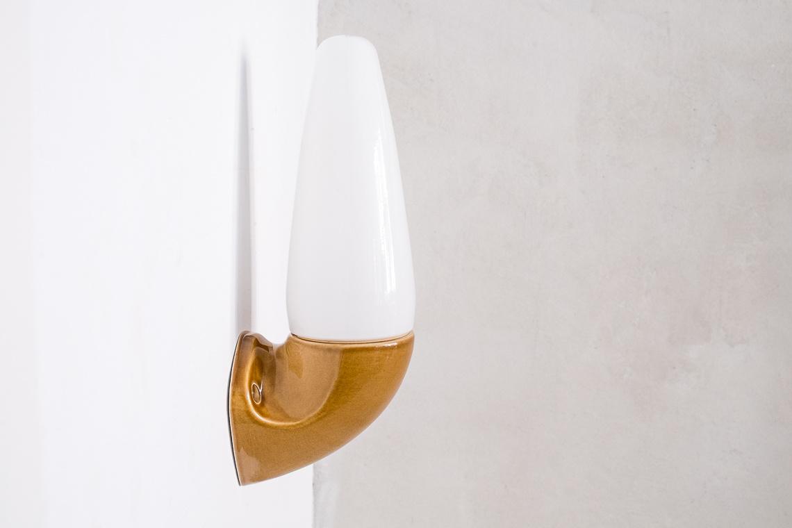 Porcelain and Glass Sconce model 6035 by Sigvard Bernadotte for Ifö