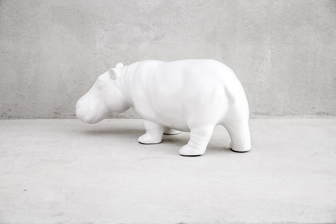 Hippopotamus White Ceramic