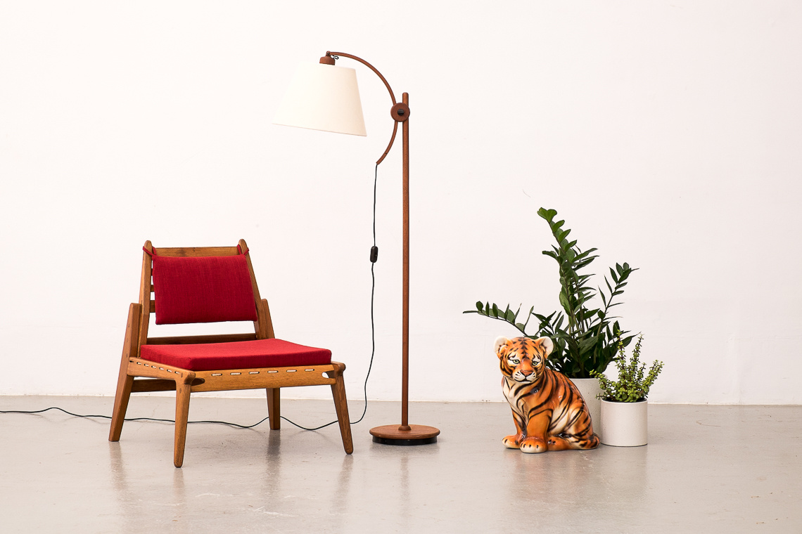 Adjustable Teak Floor Lamp by Domus Denmark