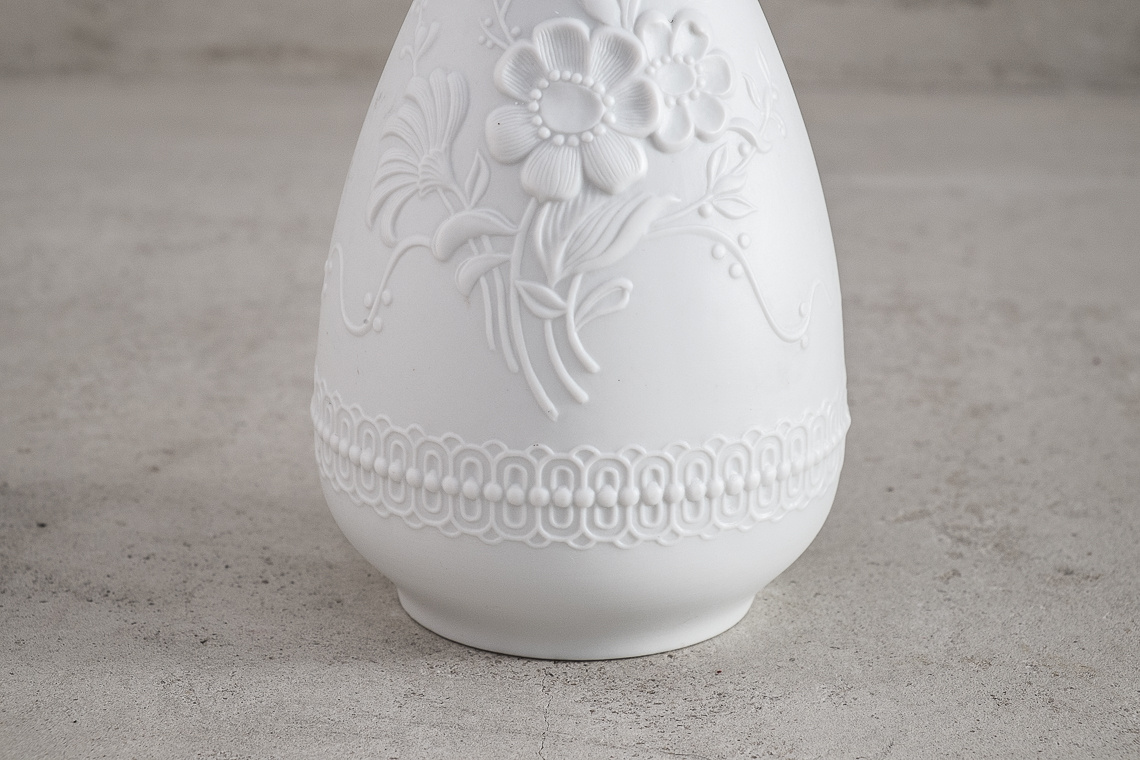 porcelain vase with floral motif by ak kaiser w. germany