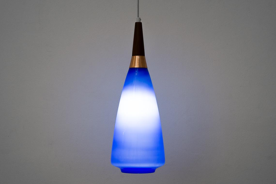French Blue Opaline & teak Ceiling Lamp