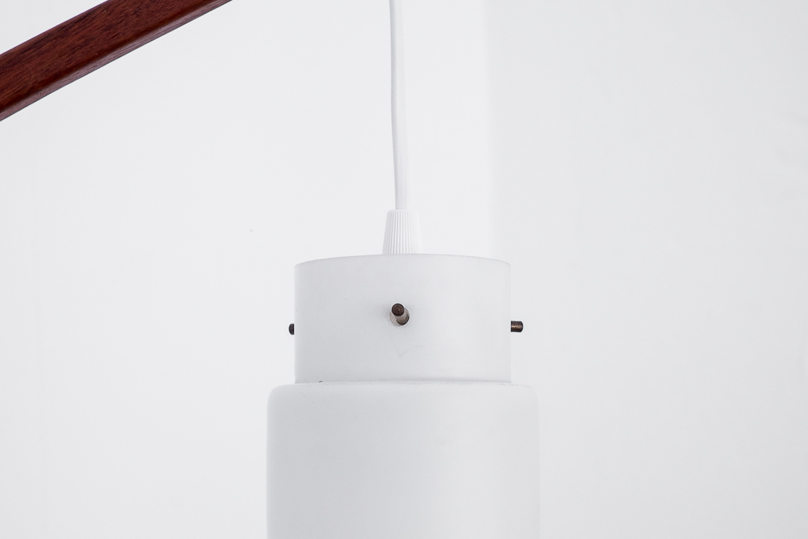 Scandinavian pendulum wall lamp in opaline glass & TEAK