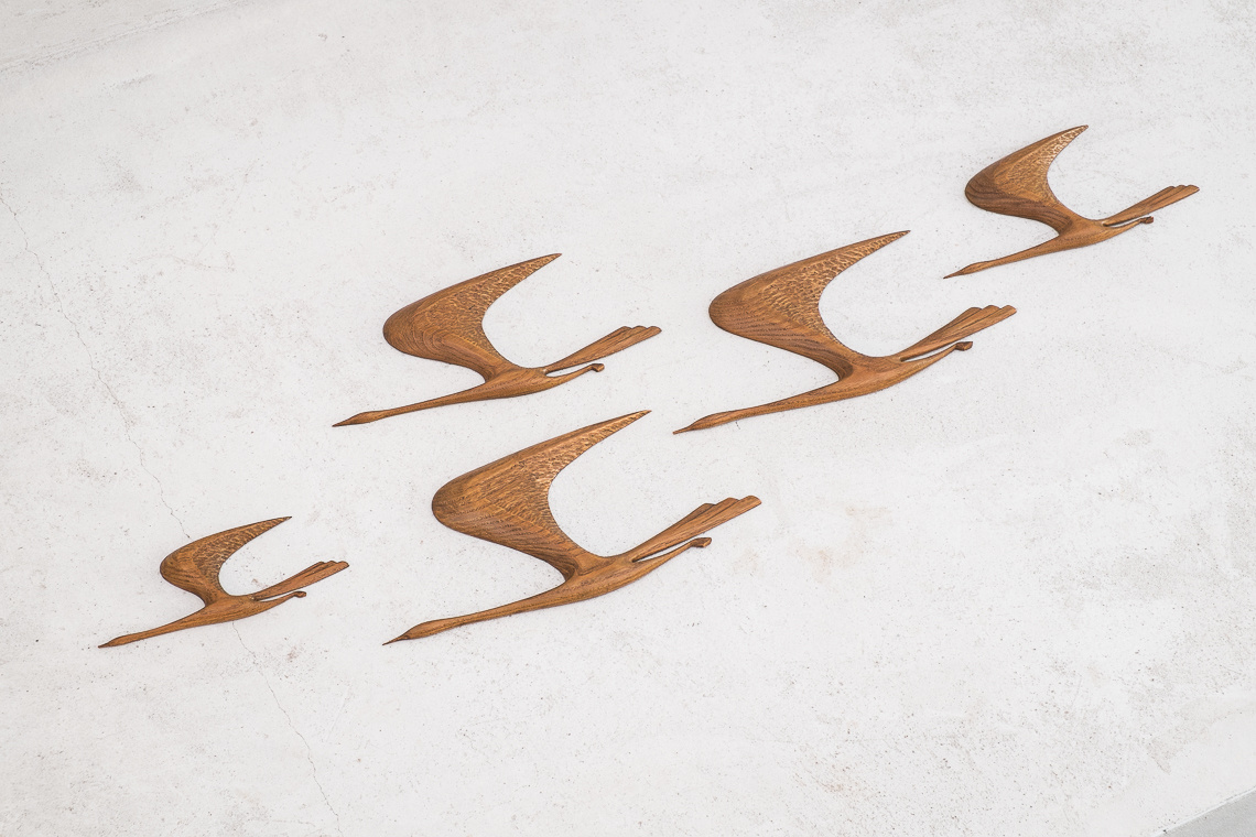 Set of 5 MID CENTURY teak Flying BIRDS
