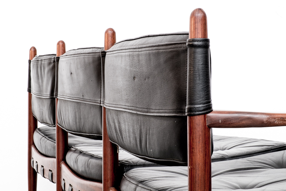 LEATHER SOFA CADETT BY ERIC MERTHEN FOR IRE AB SWEDEN