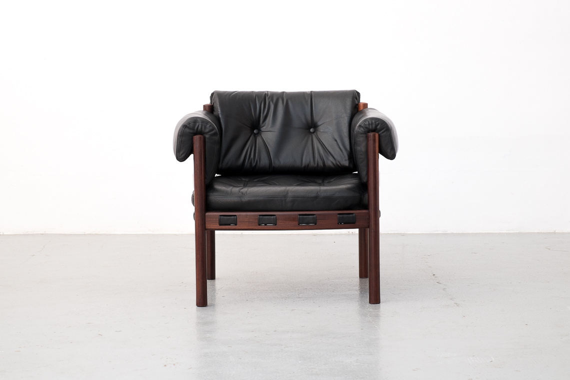 Leather & Rosewood Armchair by Arne Norell for Coja, 1960s