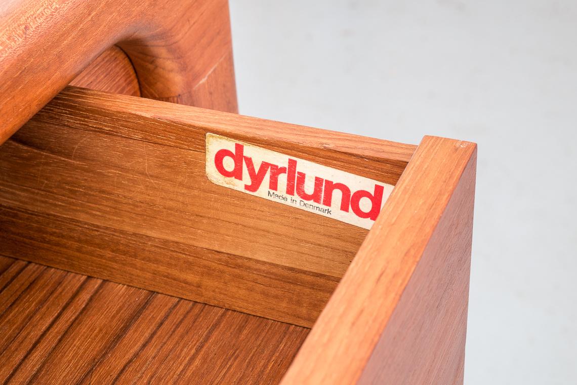 Danish Modern Teak Tambour Door Shoe Cabinet by Dyrlund