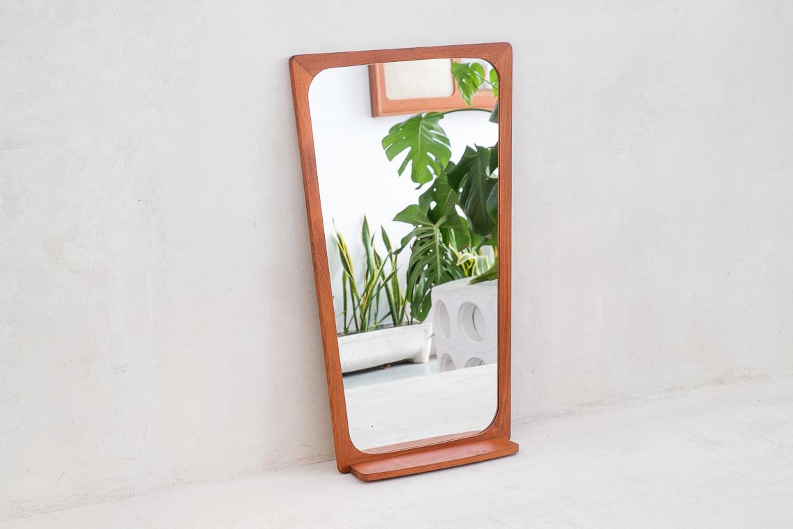 Danish teak mirror with petite shelf