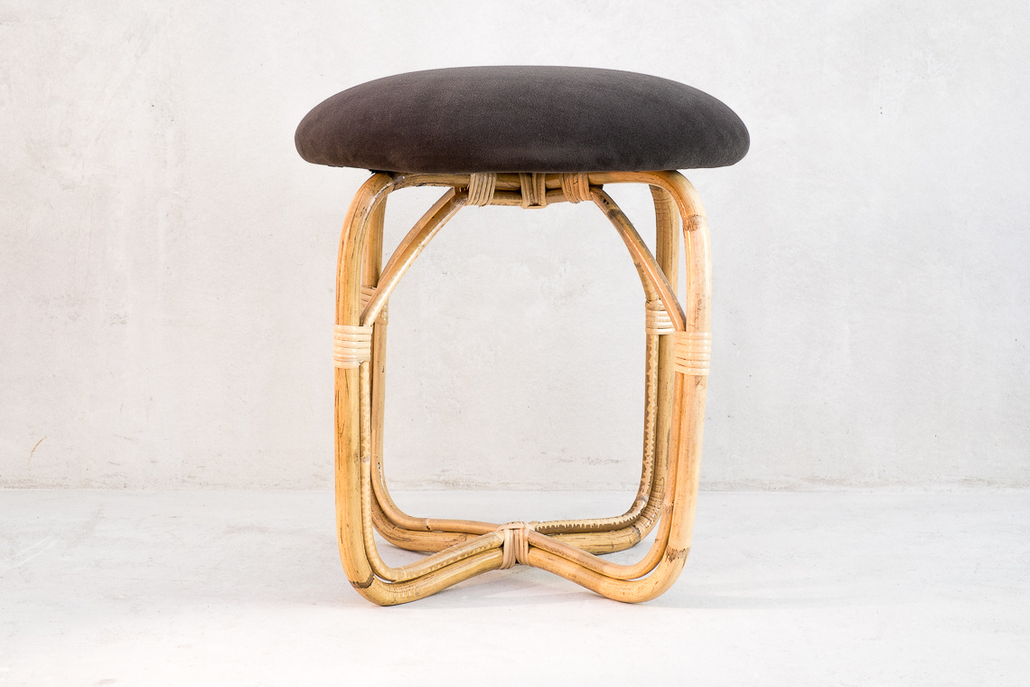 Rattan stool by Miquel Milà for Trenat