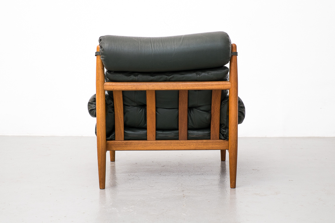 Green Leather Lounge Chair and Ottoman by PROFILIA WERKE