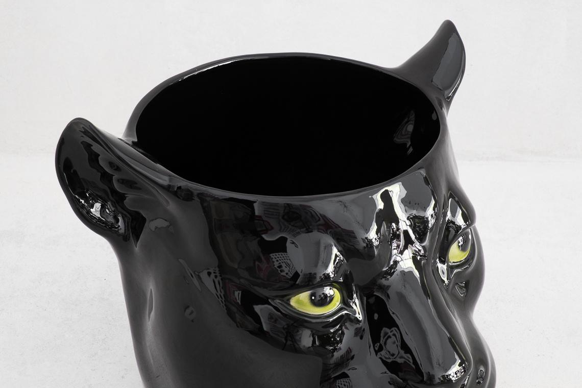 BLACK Panther BIG Flower Pot (Ø25CM) Italian Ceramic