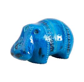 CERAMIC hippopotamus (L21CM) FROM RIMINI BLUE SERIES BY ALDO LONDI FOR BITOSSI