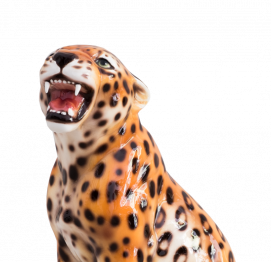 CERAMIC BABY LEOPARD SCULPTURE (30CM) MADE IN ITALY
