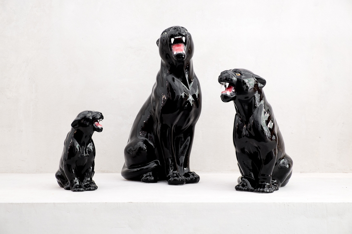 Ceramic Black Panther Sculpture (44CM) MADE IN ITALY