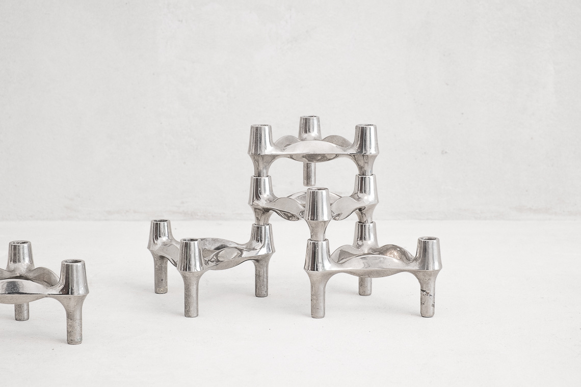 Set of 5 Chrome Candleholder Elements BY BMF