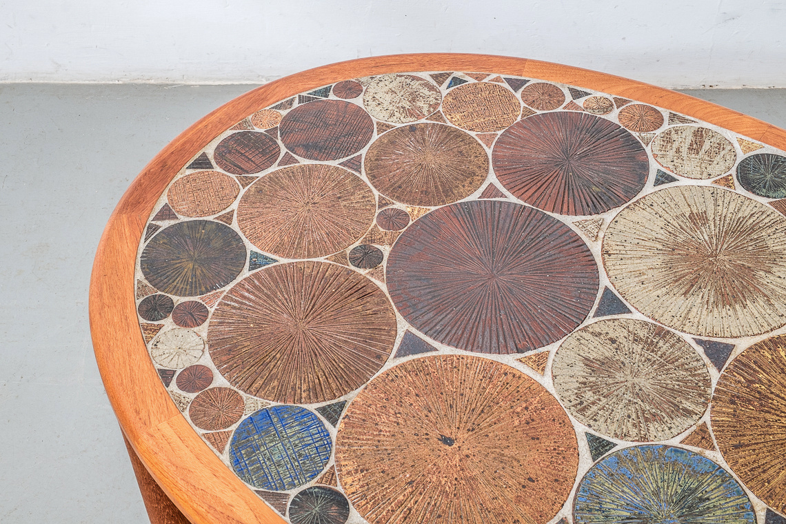 Ceramic art coffee table designed by Tue Poulsen for Haslev Mobelsnedkeri