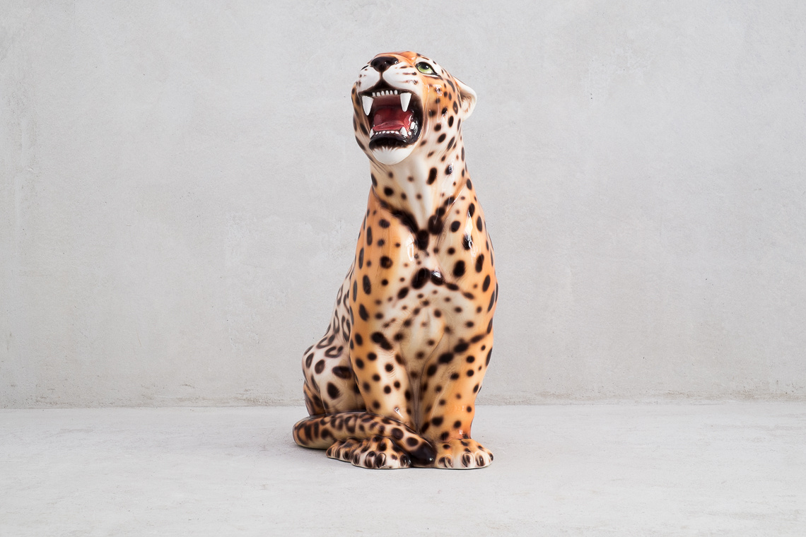 CERAMIC LEOPARD SCULPTURE (45CM) MADE IN ITALY
