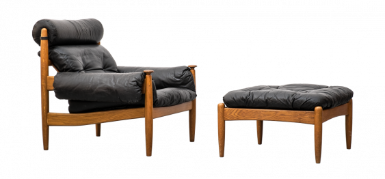 Leather Lounge Chair and Ottoman by PROFILIA WERKE