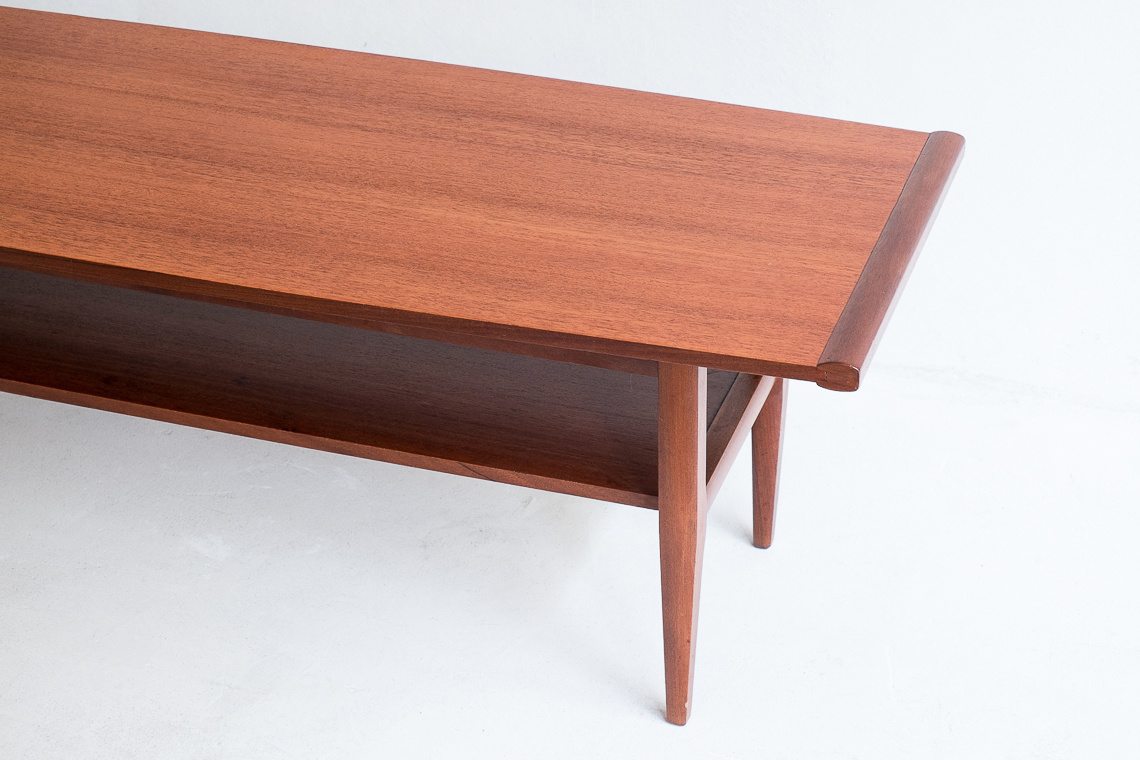 Afromosia & teak long john coffee table by Myer