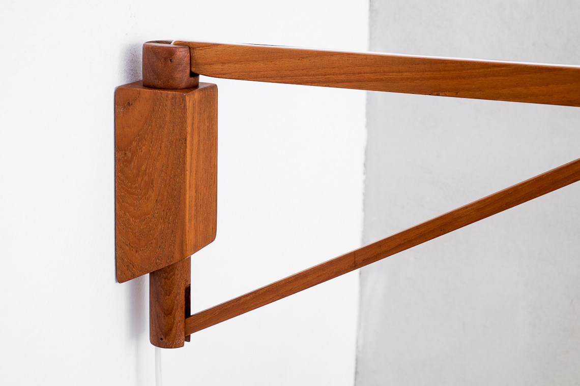 Mid-Century Danish Adjustable Teak Wall Lamp