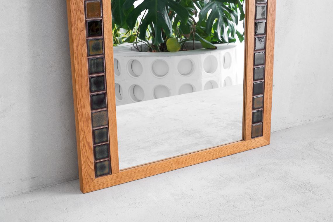 Danish OAK & ceramic mirror from J. Hølmer-Hansen