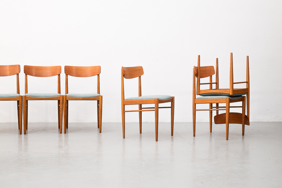 Beech Dining Chairs from Habeo, 1960s, Set of 6
