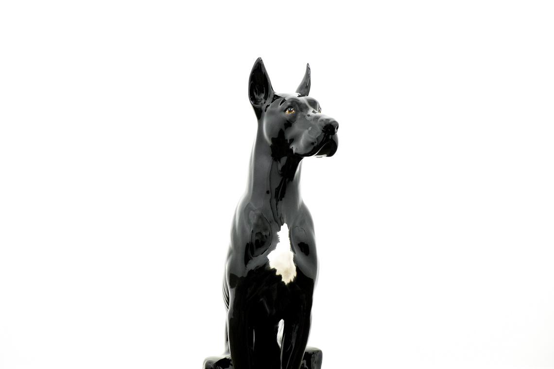 The Black Great Dane (105CM)ITALIAN CERAMIC SCULPTURE