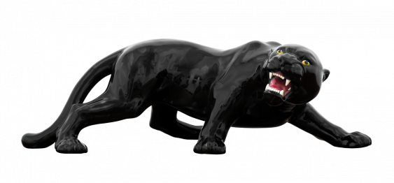 big black panther (27X87CM) ITALIAN CERAMIC SCULPTURE