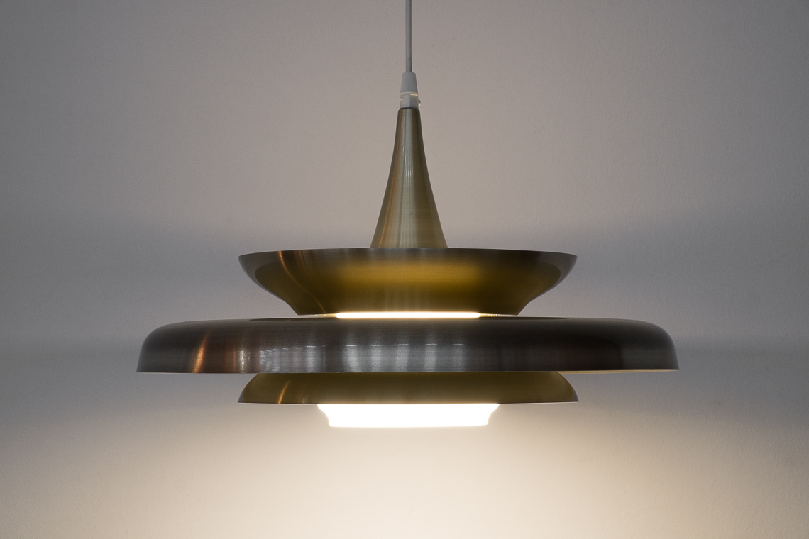 Glass & Golden Aluminum Pendant Lamp from Vitrika