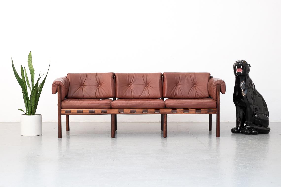 Leather & Rosewood Model 925 Sofa by Sven Ellekaer for Coja
