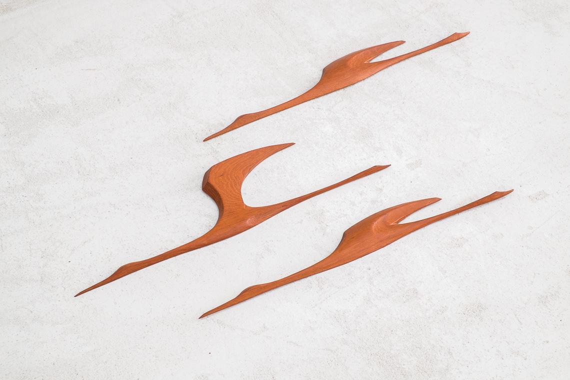 Set of 3 MID CENTURY teak Flying BIRDS
