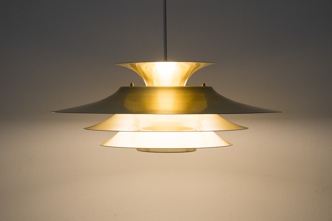 Mid-Century Danish GOLD PENDANT LAMP of FRANDSEN