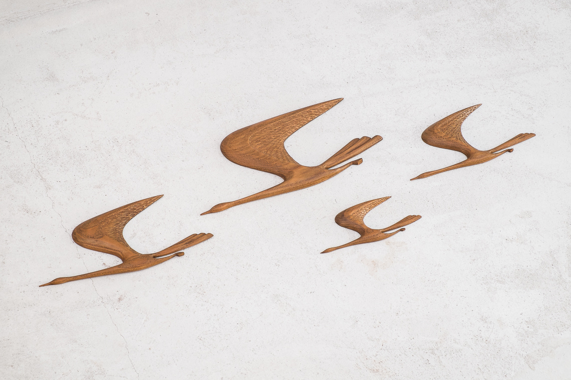 Set of 4 MID CENTURY teak Flying BIRDS
