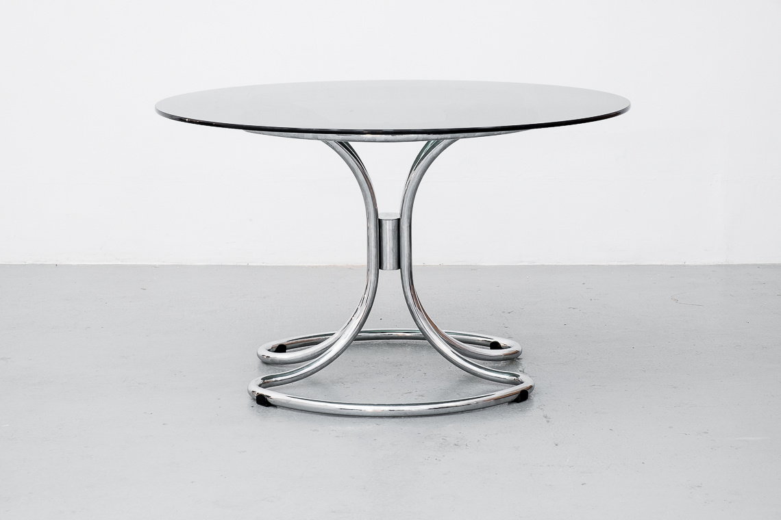 Chrome & Smoked Glass Dining Table by Giotto Stoppino