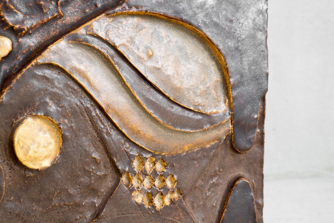 Modernist Ceramic Wall Plaque by Helmut Schaffenacker