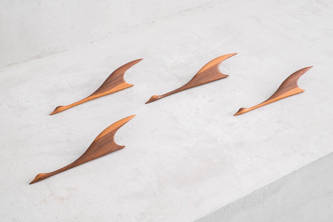 Set of 4 MID CENTURY teak Flying BIRDS
