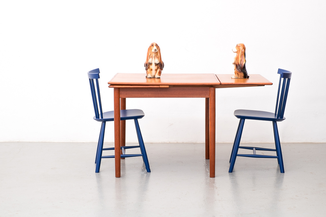 TEAK EXTENSIBLE DINING TABLE From A.M. Mobelfabrik