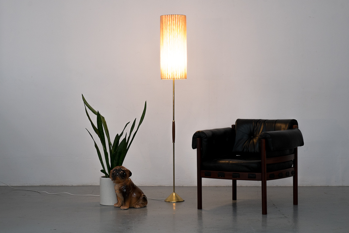 Brass & sisal Floor Lamp from Temde