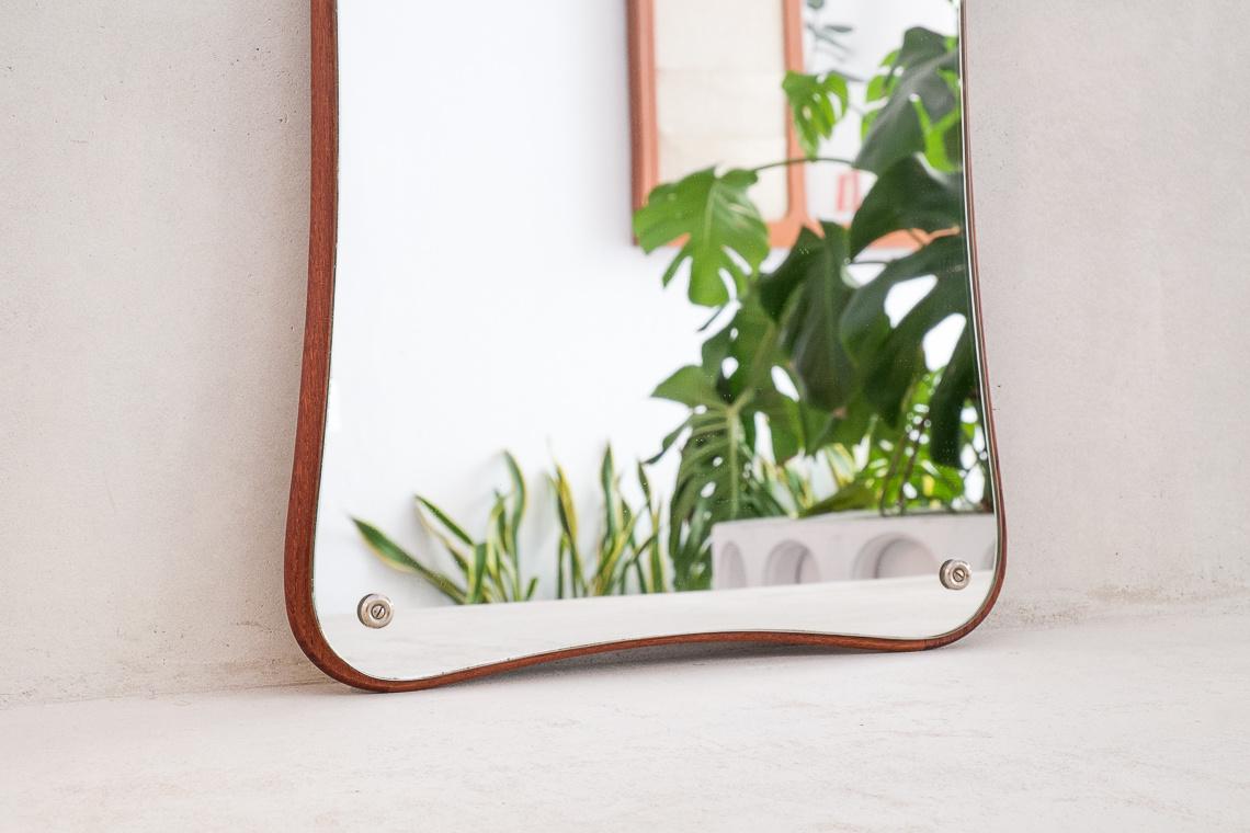 sinuous mirror teak frame made in denmark