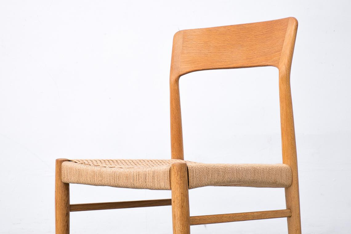 Set of 4 Paper Cord & Oak Chairs by KORUP STOLEFABRIK