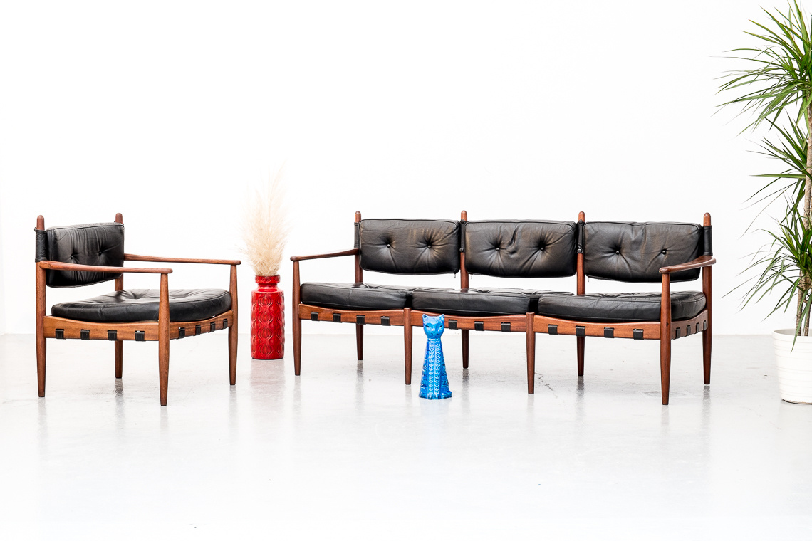 LEATHER SOFA BY ARNE NORELL FOR COJA