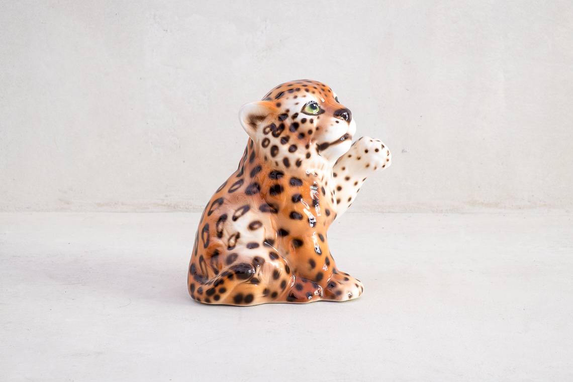 small leopard ceramic
