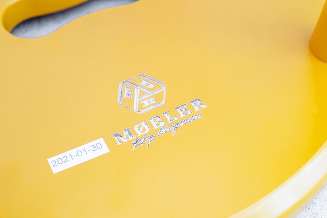 YELLOW Stool J27 by Børge Mogensen FOR FDB Møbler