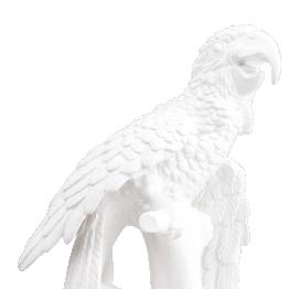 White Ceramic Parrot (48CM) ITALIAN SCULPTURE