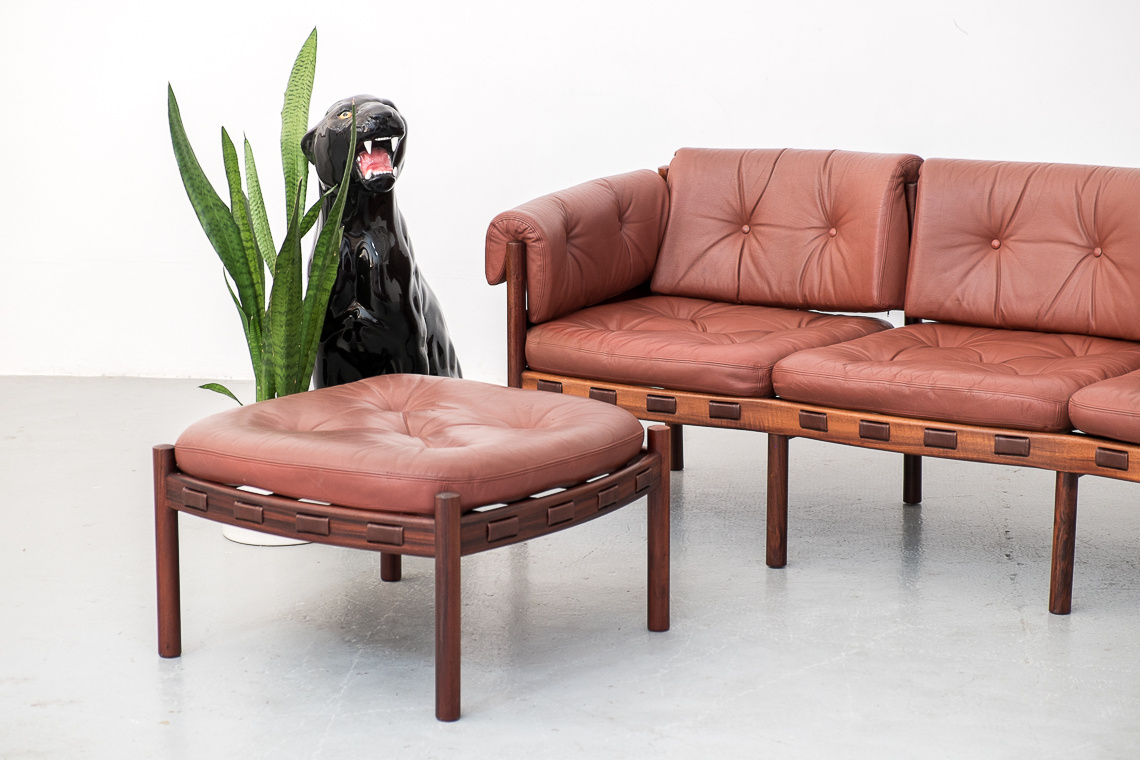 Leather 3 Seater Sofa by Arne Norell for Coja